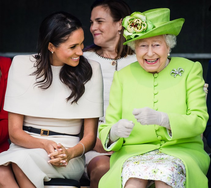 Duchess Meghan with The Queen on their first official outing together. *(Image: Getty)*
