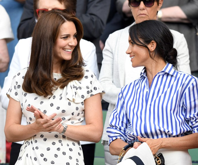 The two Duchesses had a ball at Wimbledon earlier this year. *(Image: Getty)*