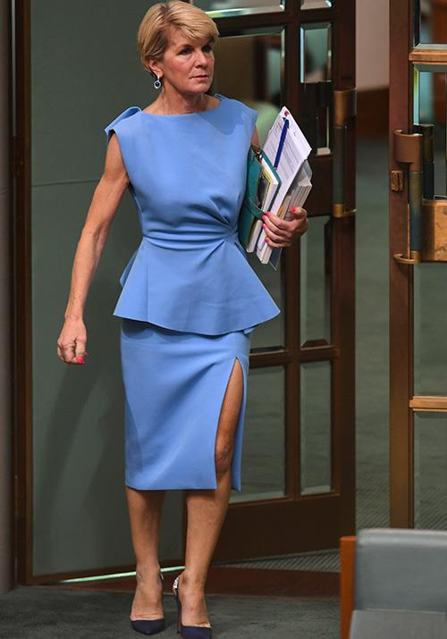Minister of fashion indeed - Julie wore a gorgeous powder blue peplum top and skirt during question time in the House of Representatives in December 2018.