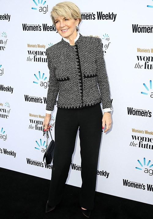 Attending the *Australian Women's Weekly* Women of the Future Awards, Bishop looked powerful in a Chanel-esque tweed jacket. *(Image: Getty)*