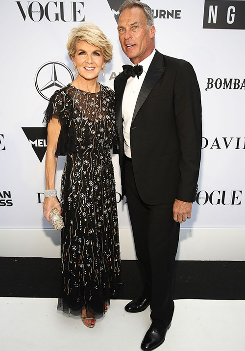 This 1920s flapper-inspired gown looked stunning on Bishop as she stepped out with partner David Panton at the NGV Gala in December 2018. *(Image: Getty)*
