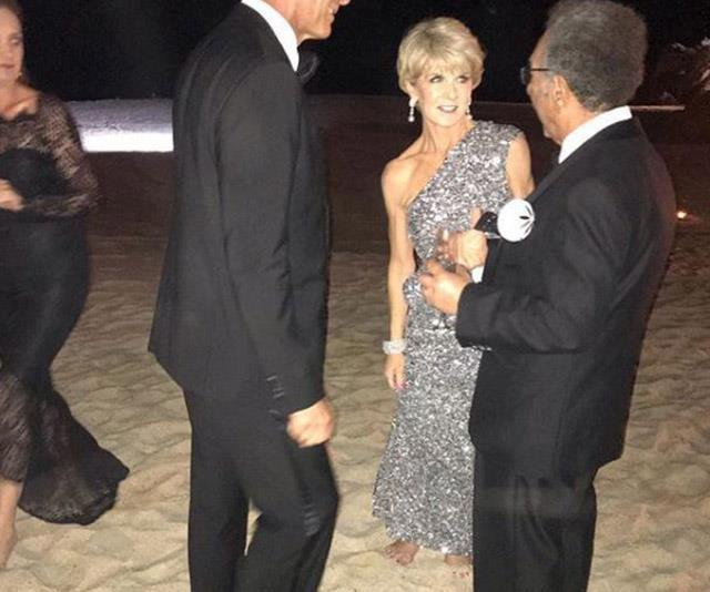 """Bishop was one of the most high profile guests [in attendance at Karl Stefanovic's Mexican wedding](https://www.nowtolove.com.au/celebrity/celeb-news/julie-bishop-karl-stefanovic-wedding-52968 target=""""_blank"""") to Jasmine Yarbrough in November 2018 - and this sparkly silver number did all the talking. *(Image: Instagram/abedwani)*"""