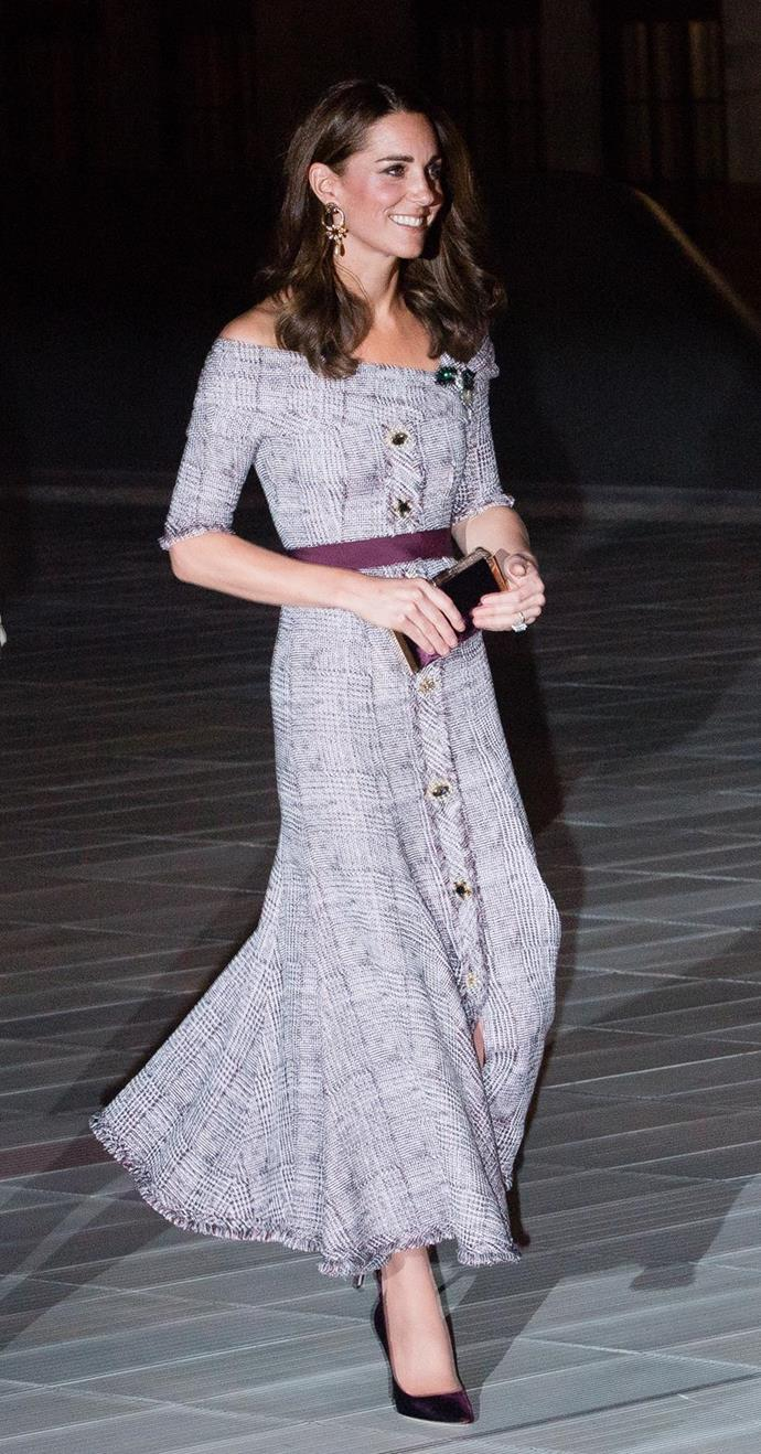 """This gorgeous off-shoulder tweed Erdem dress was [form-flattering and stylish](https://www.nowtolove.com.au/royals/british-royal-family/kate-middleton-new-dress-51751