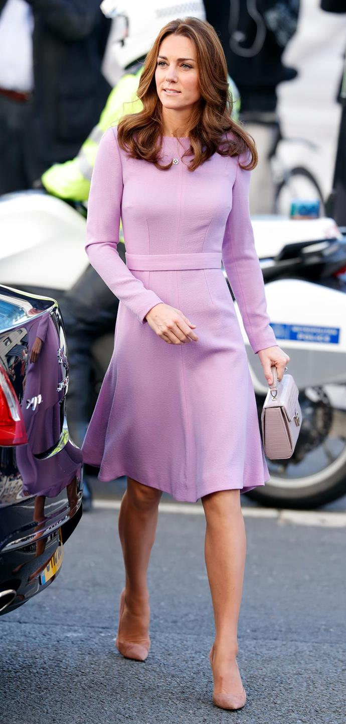 Pink lady alert! Kate looked gorgeous in this pink number by favourite designer Emilia Wickstead. The Duchess opted for the bright style as she attended the Global Ministerial Mental Health Summit in London in October. *(Image: Getty)*