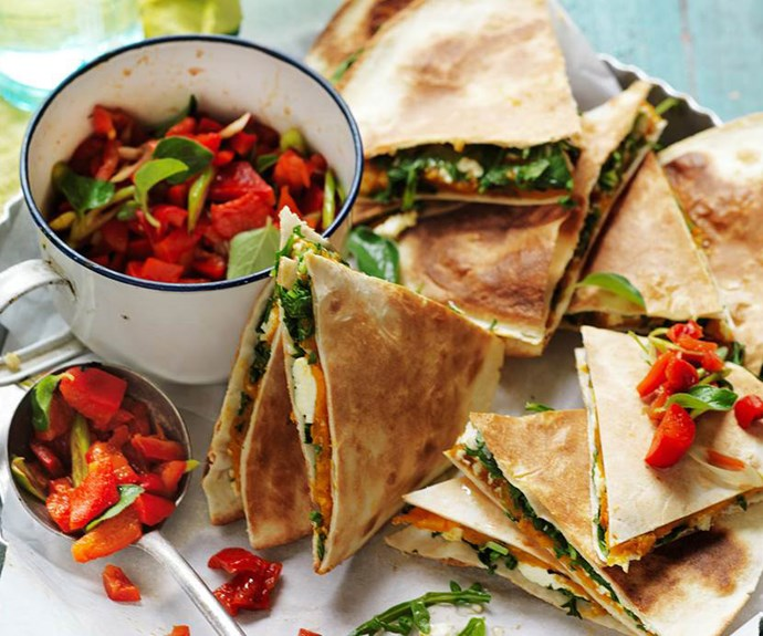 "**Pumpkin, ricotta and rocket quesadillas** <br><br> These delicious vegetarian quesadillas are great for lunch or an afternoon snack. The kids (big and small) will enjoy them. And they're suitable for diabetics, too. <br><br> See the full *Australian Women's Weekly* recipe [here](https://www.womensweeklyfood.com.au/recipes/pumpkin-ricotta-and-rocket-quesadillas-29274|target=""_blank"")."