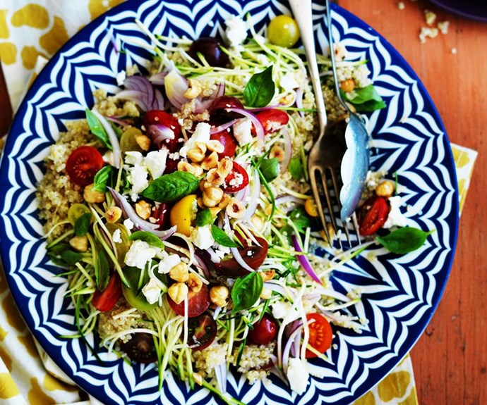 "**Quinoa, zucchini and fetta salad** <br><br> Fluffy quinoa comes to life with this herby zucchini and feta recipe. Toasted hazelnuts add crunch and heirloom tomatoes sweetness and flavour. A satisfying and healthy meal. <br><br> See the full *Australian Women's Weekly* recipe [here](https://www.womensweeklyfood.com.au/recipes/quinoa-zucchini-and-fetta-salad-29209|target=""_blank"")."