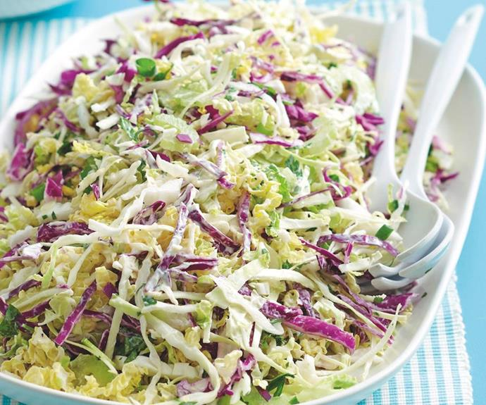 """**Three cabbage slaw** <br><br> This zesty and fresh homemade cabbage slaw is the ultimate side dish for a big dinner spread. Packed full of texture and easy to make, this can be added to sandwiches and burgers for a delicious gourmet hit. <br><br>  See the full *Australian Women's Weekly* recipe [here](https://www.womensweeklyfood.com.au/recipes/three-cabbage-slaw-27652 target=""""_blank"""")."""
