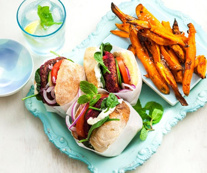 "**Beetroot and lentil burgers** <br><br> Everyone loves a good burger, and everyone will love these beetroot and lentil burgers! Healthy, wholesome and mouthwatering-delicious! <br><br> See the full *Australian Women's Weekly* recipe [here.](https://www.womensweeklyfood.com.au/recipes/beetroot-and-lentil-burgers-29172|target=""_blank"")"
