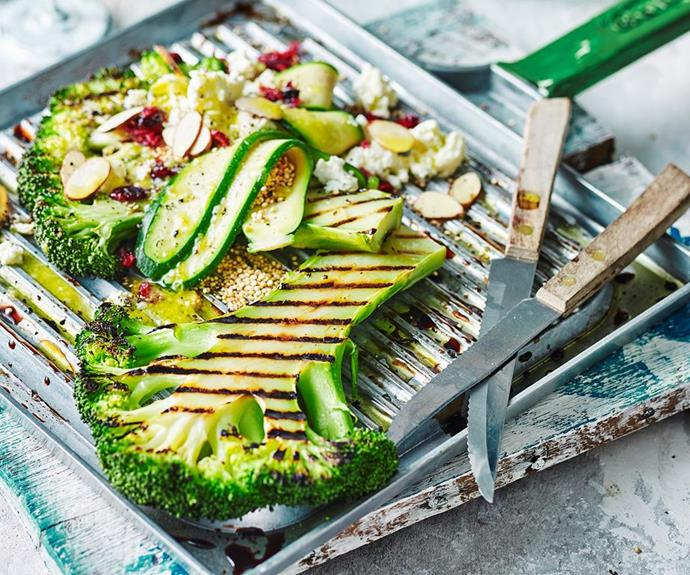 """**Broccoli steaks with quinoa and ricotta** <br><br> Looking for ways to cut down on meat in your diet? Try these tasty grilled broccoli 'steaks'. They're lovely served with a zesty ricotta quinoa salad. <br><br> See the full *Australian Women's Weekly* recipe [here](https://www.womensweeklyfood.com.au/recipes/broccoli-steak-with-quinoa-and-ricotta-1773 target=""""_blank"""")."""