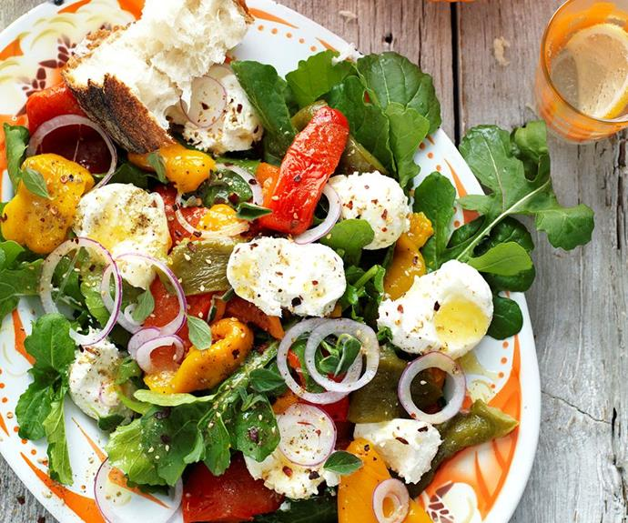 "**Roasted capsicum and labne salad** <br><br> Enjoy the freshness of this deliciously comforting vegetarian roasted capsicum and labne salad - tasty, healthy, and perfect for Spring evenings! <br><br> See the full *Australian Women's Weekly* recipe [here.](https://www.womensweeklyfood.com.au/recipes/roasted-capsicum-and-labne-salad-28862|target=""_blank"")"