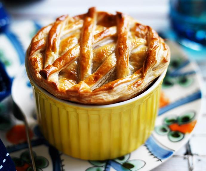 """**Eggplant and mushroom pasta pot pies** <br><br> Sink your fork through a buttery, golden crust to reveal the delicious, hearty centre of this eggplant and mushroom pie. We've added pasta pieces into the filling for extra texture, flavour and comfort! <br><br> See the full *Australian Women's Weekly* recipe [here.](https://www.womensweeklyfood.com.au/recipes/eggplant-and-mushroom-pasta-pot-pies-28976 target=""""_blank"""")"""