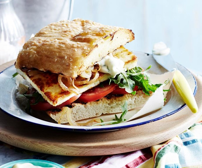 "**Harissa haloumi burgers with mint mayonnaise** <br><br> These delicious haloumi burgers are so good, you won't even miss the meat. The creamy mint mayonnaise perfectly balances the spicy harissa. <br><br> See the full *Australian Women''s Weekly* recipe [here](https://www.womensweeklyfood.com.au/recipes/harissa-haloumi-burgers-with-mint-mayonnaise-29503|target=""_blank"")."