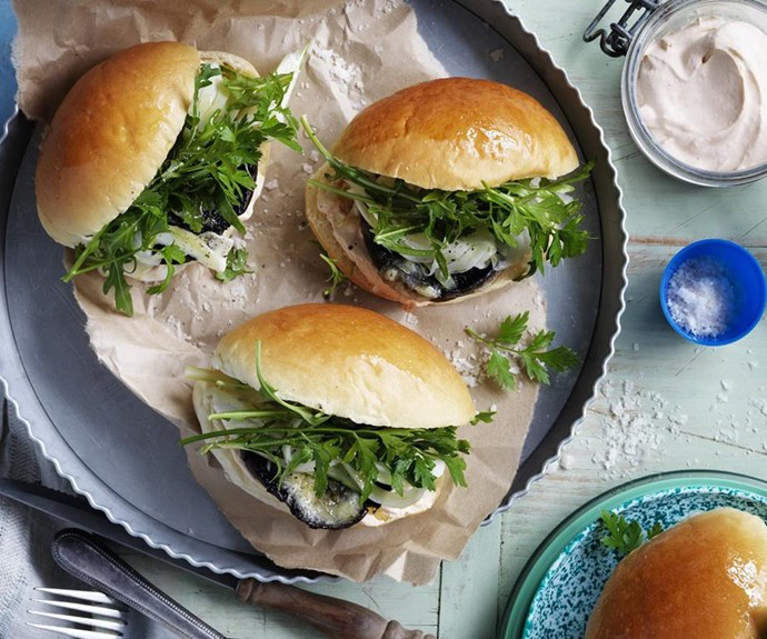 "**Mushroom sliders with pickled fennel and harissa creme fraiche** <br><br> These vegetarian sliders and packed full of juicy roasted portobello mushrooms, zesty pickled fennel and a creamy harissa sauce. They make the ultimate finger food for entertaining and are easy to prepare. <br><br> See the full *Australian Women's Weekly* recipe [here](https://www.womensweeklyfood.com.au/recipes/mushroom-sliders-with-pickled-fennel-and-harissa-creme-fraiche-28522|target=""_blank"")."