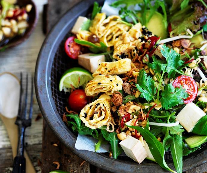 "**Smoked tofu salad with peanut dressing** <br><br> This smoked tofu salad is simple, nourishing, and tasty. Garnished with a delicious peanut dressing, this is the perfect light dinner for any night of the week. <br><br> See the full *Australian Women's Weekly* recipe [here](https://www.womensweeklyfood.com.au/recipes/smoked-tofu-salad-with-peanut-dressing-29449|target=""_blank"")."