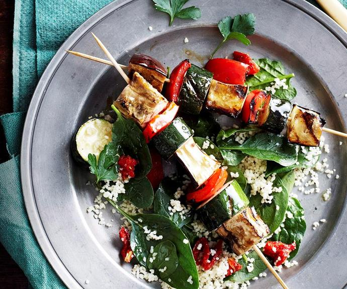 "**Vegetable skewers with parsley and cashew pesto** <br><br> Just because everyone else is having skewers on Australia Day, doesn't mean the vegos need to miss out. These capsicum, zucchini and eggplant skewers are the perfect meat substitute. <br><br> See the full *Australian Women's Weekly* recipe [here](https://www.womensweeklyfood.com.au/recipes/vegetable-skewers-with-parsley-and-cashew-pesto-16638|target=""_blank"")."