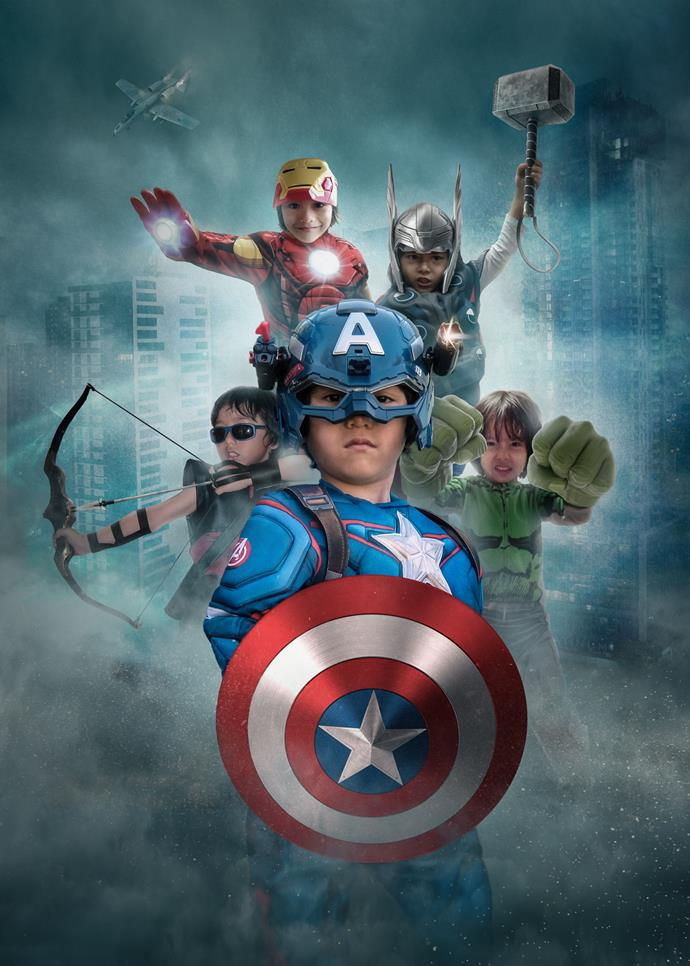 Julian Cadman as the *Avengers* superheroes. *(Source: Supplied by the HeART Project)*