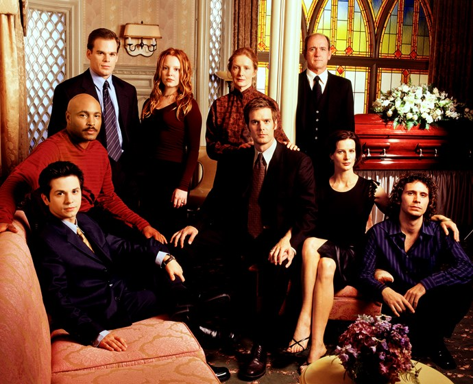Rachel with the cast of *Six Feet Under*.