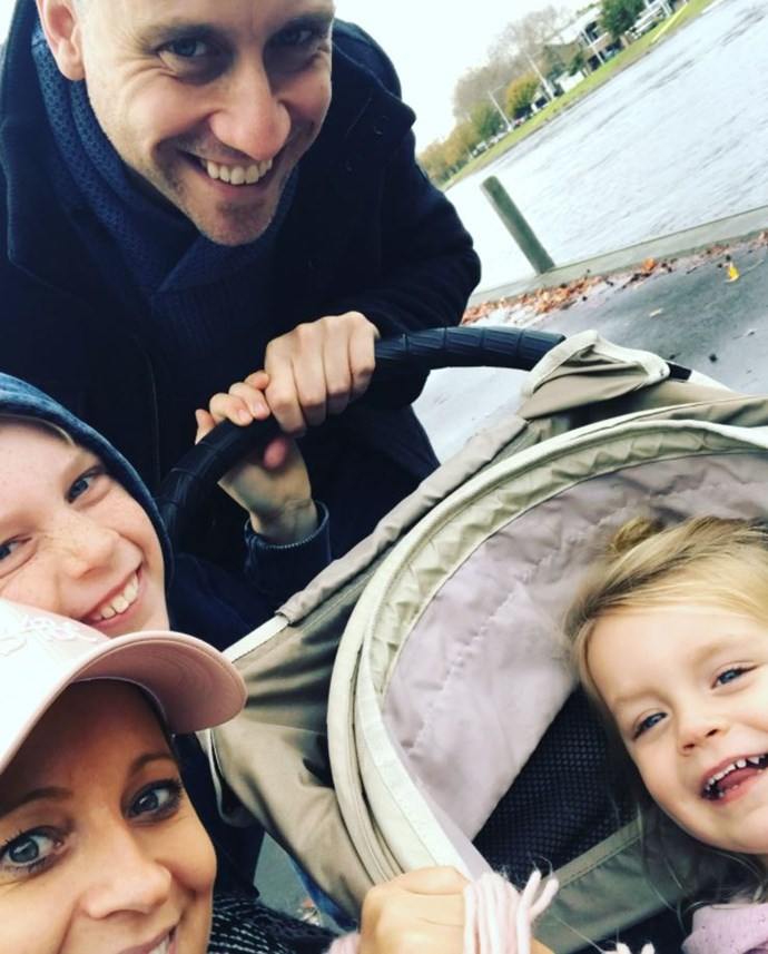 Back when they were four, Carrie, Chris, Ollie and Evie crammed in for a family selfie. *(Image: Instagram @bickmorecarrie)*