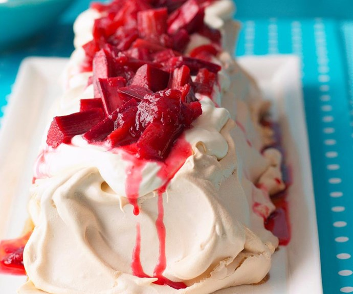 "**Caramel pavlova with rhubarb** <br><br> Try this famous Australian dessert for yourself with a modern addition of sweet caramel and rhubarb. <br><br> See the full *Australian Women's Weekly* recipe [here.](https://www.womensweeklyfood.com.au/recipes/caramel-pavlova-with-rhubarb-27904|target=""_blank"")"