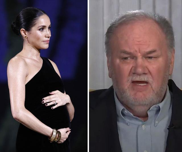"""""""Even though the royal household is treating Meghan's fallout with her father as a private matter, concern is circling that the situation is reaching a crisis point,"""" an insider told *The Mirror*. *(Image L-R: Getty, Good Morning Britain)*"""