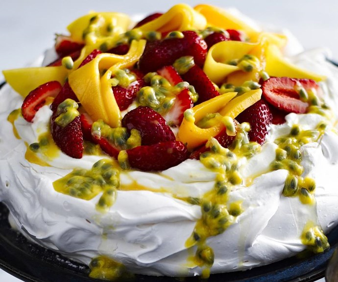 "**Classic pavlova baked on a plate** <br><br> This marshmallow-textured pavlova is cooked directly on the platter it's served on, which eliminates the risk of breaking the fragile meringue when transferring it. Simply make sure the platter is plain, sturdy and ovenproof. <br><br> See the full *Australian Women's Weekly* recipe [here.](https://www.womensweeklyfood.com.au/recipes/classic-pavlova-baked-on-a-plate-12688|target=""_blank"")"