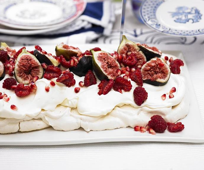 "**Pavlova with figs and pomegranate** <br><br> Figs and pomegranates are in peak season at the moment. They make a stunning garnish on this beautiful pavlova.  <br><br> See the full *Australian Women's Weekly* recipe [here.](https://www.womensweeklyfood.com.au/recipes/pavlova-with-figs-and-pomegranate-12110|target=""_blank"")"