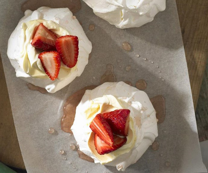 "**Mini pavlovas with vanilla syrup strawberries** <br><br> You could experiment with a variety of different berry toppings here. Whatever you choose, you just can't beat a pav topped with whipped cream and berries and drenched in syrup. <br><br> See the full *Australian Women's Weekly* recipe [here.](https://www.womensweeklyfood.com.au/recipes/mini-pavlovas-with-vanilla-syrup-strawberries-12060|target=""_blank"")"