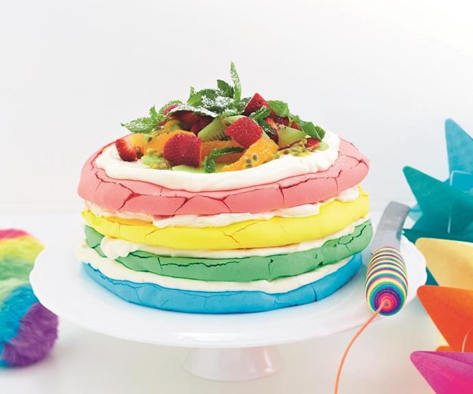 "**Rainbow pavlova cake** <br><br> Get creative in the kitchen with this deliciously indulgent and colourful rainbow pavlova cake - the perfect treat to make with the kids! Fun, bright, and so delicious! <br><br> See the full *Australian Women's Weekly* recipe [here](https://www.womensweeklyfood.com.au/recipes/rainbow-pavlova-cake-29022|target=""_blank"")."