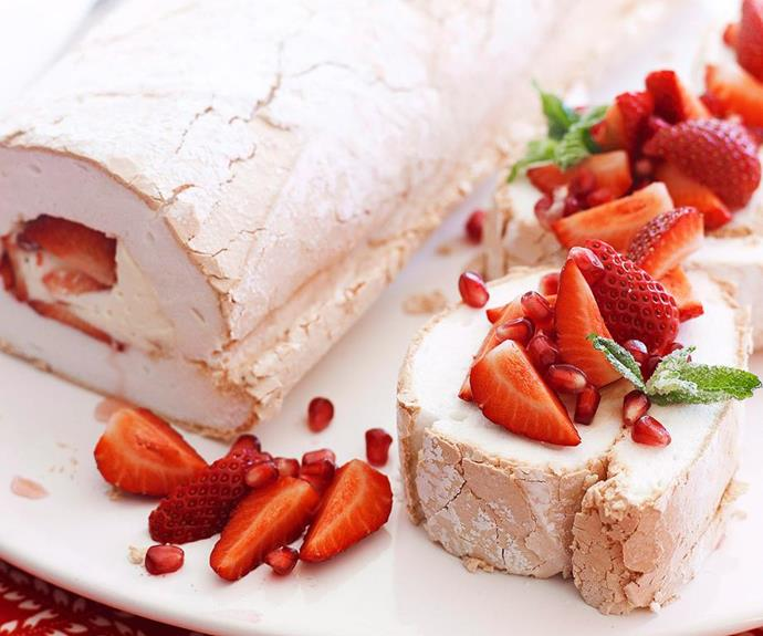"**Strawberry and pomegranate pavlova roulade** <br><br> Travel back to the old English countryside with this classic combination of cake, cream and strawberries. If you're looking for something a little less traditional, switch up the flavours with lemon, almonds and berries. <br><br> See the full *Australian Women's Weekly* recipe [here.](https://www.womensweeklyfood.com.au/recipes/pavlova-roulade-15854|target=""_blank"")"