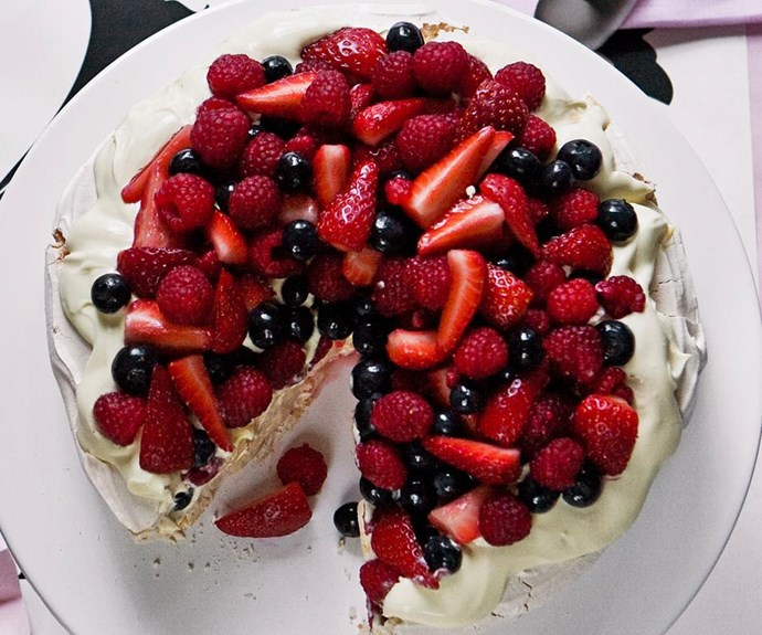 "**Summer berry pavlova** <br><br> Australian family gatherings or celebrations wouldn't be complete without a pav, especially in the warmer months when all our favourite soft fruit is super-ripe and cheap. Or top with any fruit you like - banana, kiwifruit, mango or hulled cherries are all good alternatives. <br><br> See the full *Australian Women's Weekly* recipe [here.](https://www.womensweeklyfood.com.au/recipes/summer-berry-pavlova-26743|target=""_blank"")"