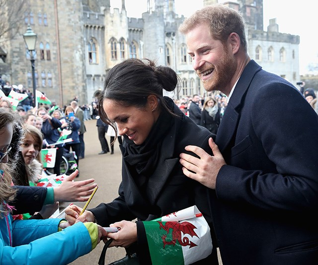 """In January, the newly engaged couple visited Cardiff, Wales. Being one of Meghan's first public walkabouts with the royals, Jackson was impressed with her manner and poise as she met fans. <br><br> """"So many people look up to Meghan and idolize her, and she makes time to speak and listen to as many of these people as she can,"""" Jackson said.   *(Image: Chris Jackson / Getty Images)*"""