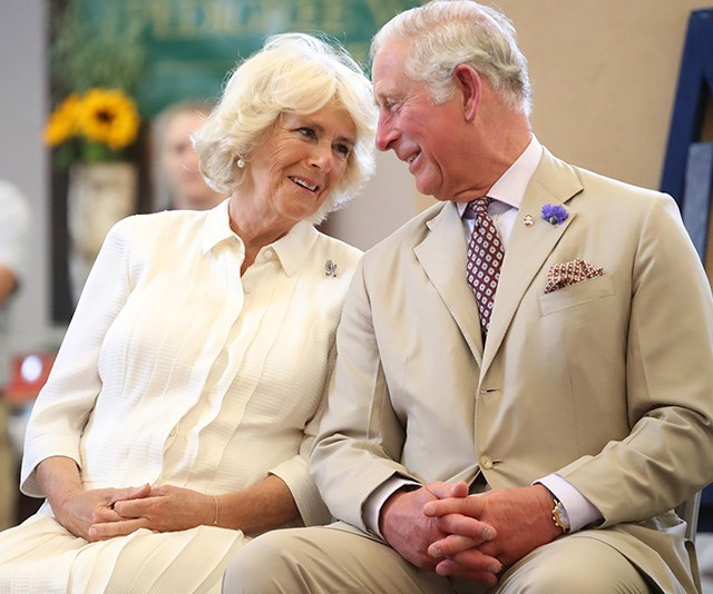 Proving he's a pro at snapping sweet moments between couples, another of Jackson's favourite images of the year was this loving look between Charles and Camilla, who were attending the opening of Strand Hall in Builth Wells, Wales in July. *(Image: Chris Jackson / Getty Images)*