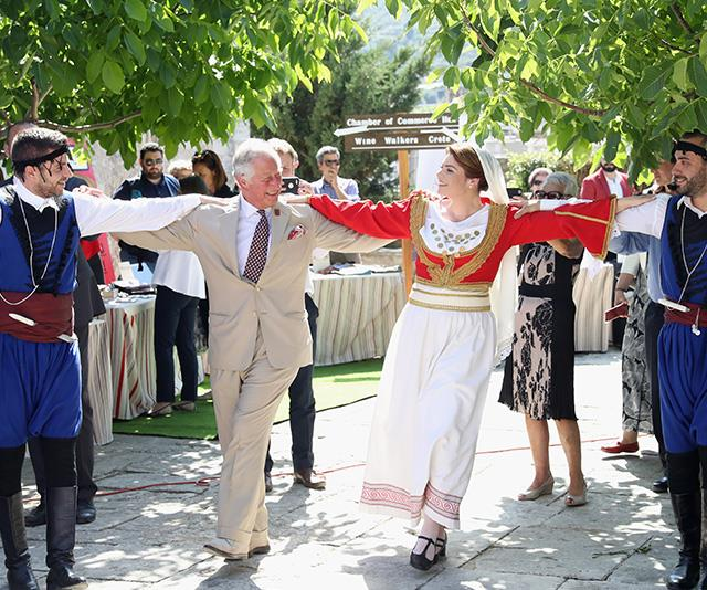"During a visit to Greece in May, [Charles was captured taking part in a traditional dance](https://www.nowtolove.com.au/royals/british-royal-family/prince-charles-vanity-fair-interview-52190|target=""_blank""), and it was clear he was enjoying himself! <br><br> Jackson told *INSIDER* that Charles is never afraid to embrace difference cultures: ""Some of my favorite images that I capture are the ones that show a side of the royal family that you don't always get to see.""  *(Image: Chris Jackson / Getty Images)*"