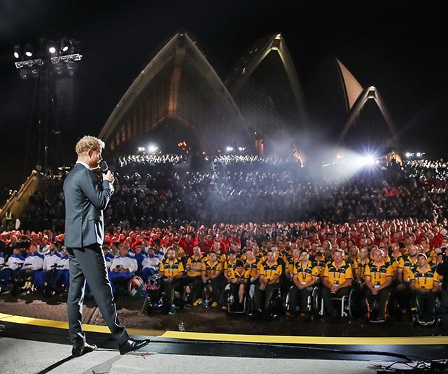"The tour in October also coincided with the Invictus Games, which were founded by Prince Harry himself for injured or sick armed service personnel and veterans. While in Sydney, the Prince [delivered a rousing speech](https://www.nowtolove.com.au/royals/british-royal-family/prince-harry-budgie-smugglers-51967|target=""_blank"") to the audience.  <br><br> Jackson discussed this striking image with *INSIDER*: ""I really love the way this photo is framed with the Sydney Opera House in the background and a beam of light shining directly on Harry... I've always shot the Invictus Games behind the scenes, and it's this kind of unique perspective that really gives you those different angles."" *(Image: Chris Jackson / Getty Images)*"