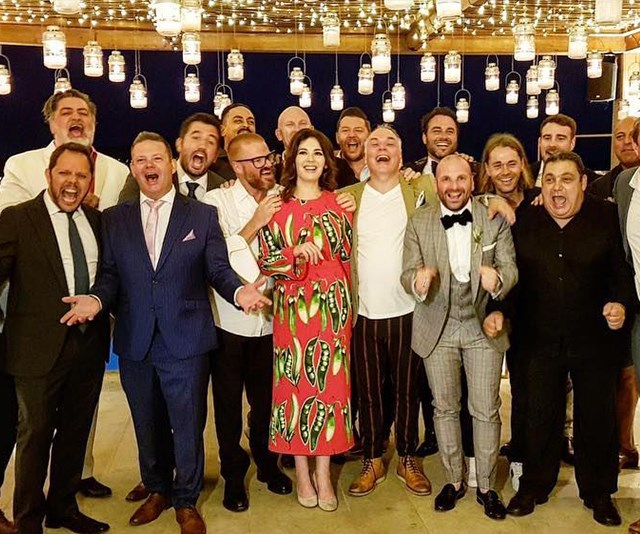 Just some of the celebrity guests in attendance at George's wedding. *(Image: Instagram @gcalombaris)*
