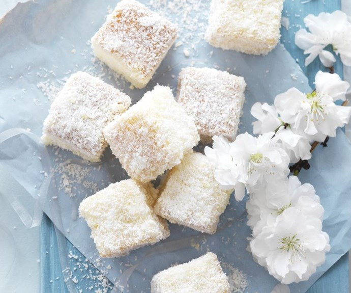 "**White chocolate lamingtons** <br><br> This recipe uses white chocolate instead of traditional milk chocolate, to give the lamingtons that pretty, snow-white effect.  <br><br> See the full *Australian Women's Weekly* recipe [here.](https://www.womensweeklyfood.com.au/recipes/white-chocolate-lamingtons-9411|target=""_blank"")"
