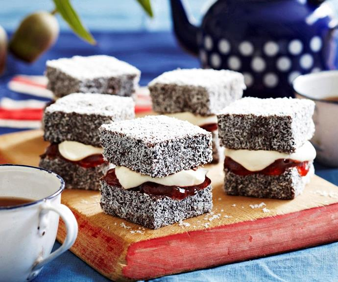 """*Lamingtons with jam and cream* <br><br> Mix up that traditional Aussie treat with some jam and cream. Perfect with a cup of tea or coffee, there's a reason lamingtons are such a staple Australian dessert. <br><br> See the full *Australian Women's Weekly* recipe [here.](https://www.womensweeklyfood.com.au/recipes/lamingtons-with-jam-and-cream-27788 target=""""_blank"""")"""