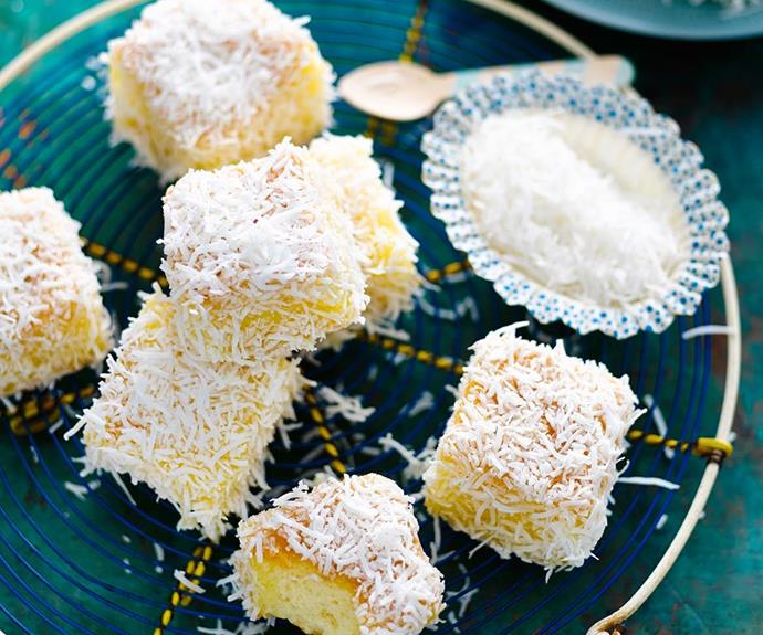 """**Lemontons** <br><br> We have created a lemon twist on a classic favourite - the Lamington. We've even made this recipe gluten-free, and nut-free, so everyone can enjoy! <br><br> See the full *Australian Women's Weekly* recipe [here.](https://www.womensweeklyfood.com.au/recipes/lemontons-29206 target=""""_blank"""")"""
