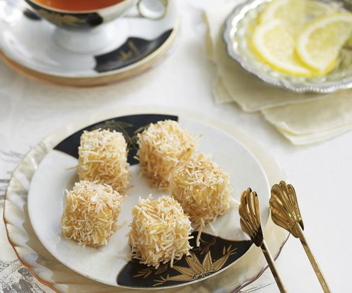 """**Mini almond coconut lamingtons** <br><br> These make a delicious accompaniment for afternoon tea.  <br><br> See the full Australian Women's Weekly recipe [here.](https://www.womensweeklyfood.com.au/recipes/mini-almond-coconut-lamingtons-5132 target=""""_blank"""")"""