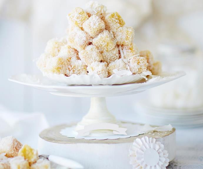 "**Mini lemon almond lamingtons** <br><br> These gorgeous mini lemon almond fingers are a zesty take on the classic Australian lamington. The combination of soft sponge rolled in coconut and drizzled with a sweet lemon syrup will leave you reaching for more. <br><br> See the full *Australian Women's Weekly* recipe [here.](https://www.womensweeklyfood.com.au/recipes/mini-lemon-almond-fingers-28930|target=""_blank"")"