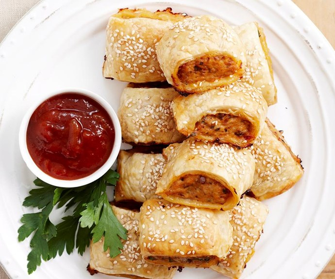 """**Golden chicken sausage rolls** <br><br> The addition of sun-dried tomato pesto and tarragon make these absolutely delicious.  <br><br> See the full *Australian Women's Weekly* recipe [here.](https://www.womensweeklyfood.com.au/recipes/golden-chicken-sausage-rolls-17364