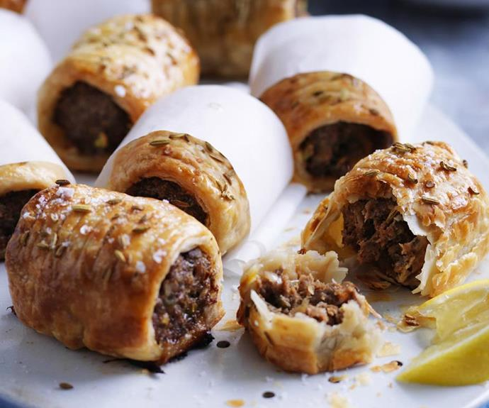 "**Moroccan sausage rolls** <br><br> Gosh, how good is harissa paste? That stuff is the magic ingredient in these little rolls.  <br><br> See the full *Australian Women's Weekly* recipe [here.](https://www.womensweeklyfood.com.au/recipes/moroccan-sausage-rolls-4767|target=""_blank"")"