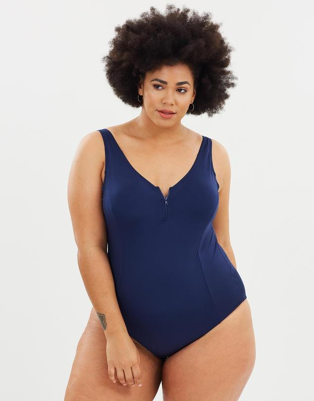 "A one piece will smooth and compliment your curves. Available from [The Iconic](https://www.theiconic.com.au/zip-swimsuit-679300.html|target=""_blank""