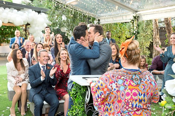 "**AARON & DAVID'S WEDDING** <br><br> **Neighbours** <br><br> We all love a soap wedding but when it's Australia's first same-sex soap wedding – officiated by Magda Szubanski's character Jemima Davies-Smythe – it's even more exciting.  <br><br> Aaron (Matt Wilson) and David's (Takaya Honda) heartfelt union was worth the wait and the actors themselves say they're proud to have been a part of an iconic television moment.  <br><br> ""It's a huge milestone for *[Neighbours](https://www.nowtolove.com.au/celebrity/tv/neighbours-memorable-moments-8000-episode-52986