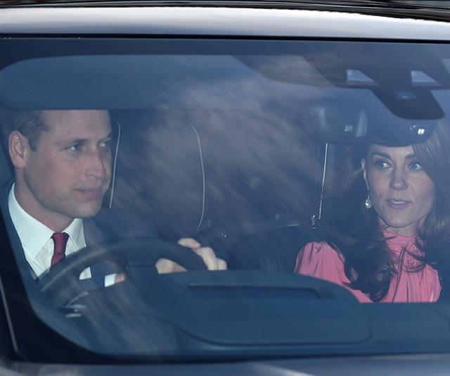 William and Kate arrived at Buckingham Palace with their brood in tow. *(Image: Getty)*