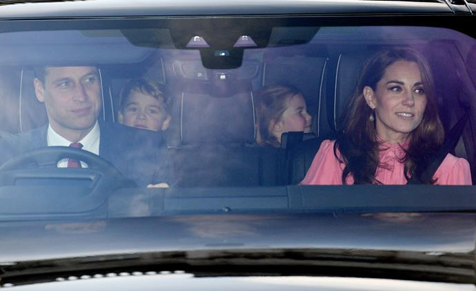 Young Prince Louis wasn't in sight, but the Cambridges looked full of anticipation as they arrived for the Queen's lunch. *(Image: Getty)*