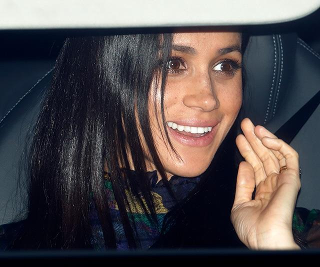 Duchess Meghan was glowing as she arrived at the event with husband Harry driving her in. *(Image: Getty)*