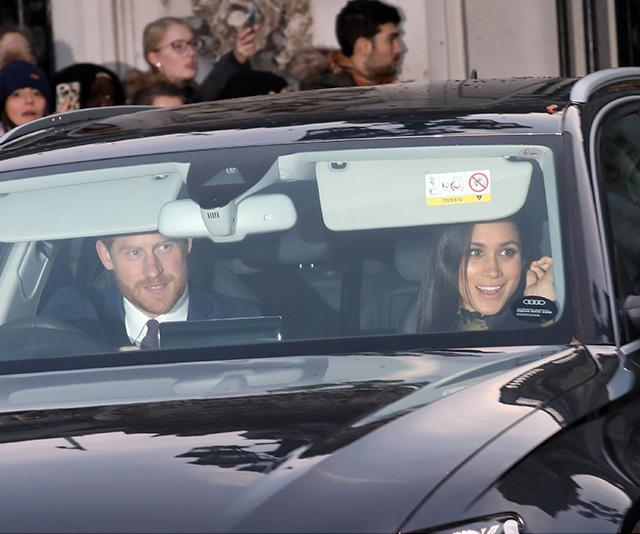 The royal parents-to-be smiled at onlookers as they made their way through the crowds outside the Palace. *(Image: Rex)*