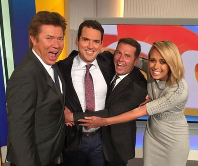 In happier times: Richard Wilkins, Peter Stefanovic, Karl Stefanovic and Sylvia Jeffreys joke about on the set of the *Today*. *(Image: Instagram)*
