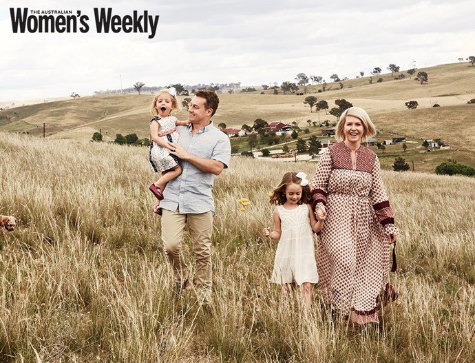 The family pictured at their Bathurst property. *(Image: The Australian Women's Weekly)*